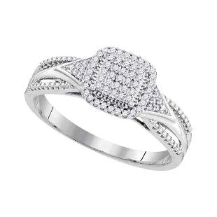Diamond Square Cluster Bridal Wedding Engagement Ring