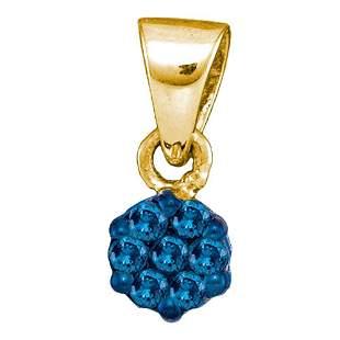 Round Blue Color Enhanced Diamond Cluster Pendant 1/10