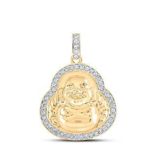 Round Diamond Buddha Charm Pendant 1-1/4 Cttw 10KT