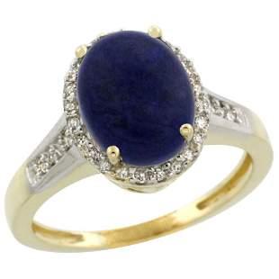 2.60 CTW Lapis Lazuli & Diamond Ring 10K Yellow Gold -
