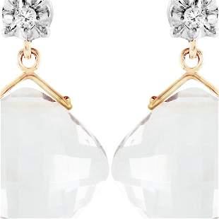 Genuine 17.56 ctw White Topaz & Diamond Earrings 14KT