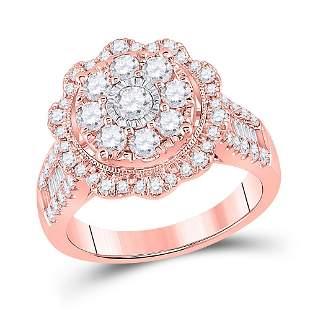 Round Diamond Floral Cluster Bridal Wedding Engagement