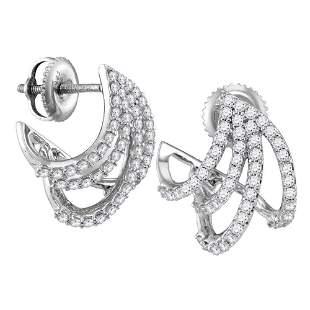 Round Diamond Lobe Huggie Earrings 1/2 Cttw 10KT White
