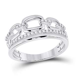 Round Diamond Chain Link Band Ring 1/4 Cttw 14KT White