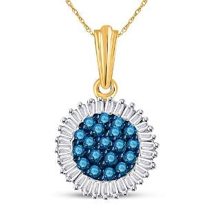 Round Blue Color Enhanced Diamond Cluster Pendant 1/2