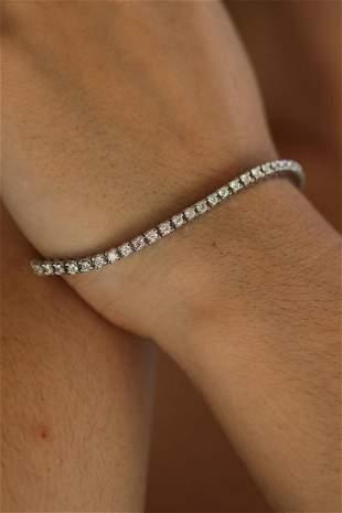 Natural 3.27 ctw Diamond Eternity Tennis Bracelet 14K
