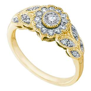Round Diamond Solitaire Floral Cluster Milgrain Ring