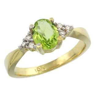 1.06 CTW Peridot & Diamond Ring 14K Yellow Gold -