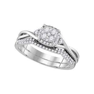 Diamond Cluster Bridal Wedding Ring Band Set 3/8 Cttw