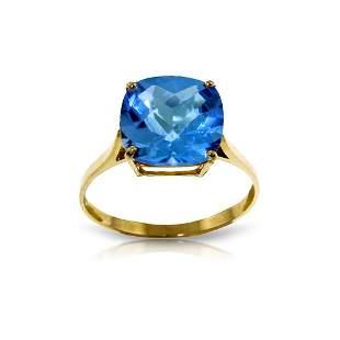 Genuine 3.6 ctw Blue Topaz Ring 14KT Yellow Gold -