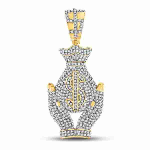 Round Diamond Money Bag Hands Charm Pendant 1-1/3 Cttw