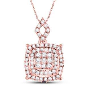Round Diamond Square Cluster Pendant 1/2 Cttw 14KT Rose