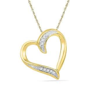 Round Diamond Heart Outline Pendant .03 Cttw 10KT