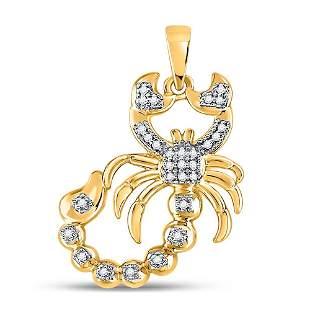 Round Diamond Scorpion Charm Pendant 1/10 Cttw 10KT