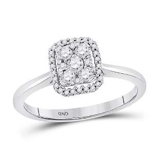 Round Diamond Square Cluster Ring 1/3 Cttw 10KT White