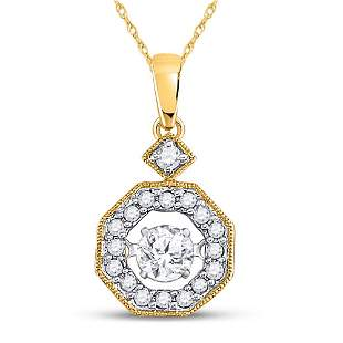 Round Diamond Moving Twinkle Solitaire Pendant 1/3 Cttw