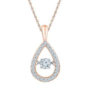 Round Diamond Moving Twinkle Teardrop Pendant 1/4 Cttw