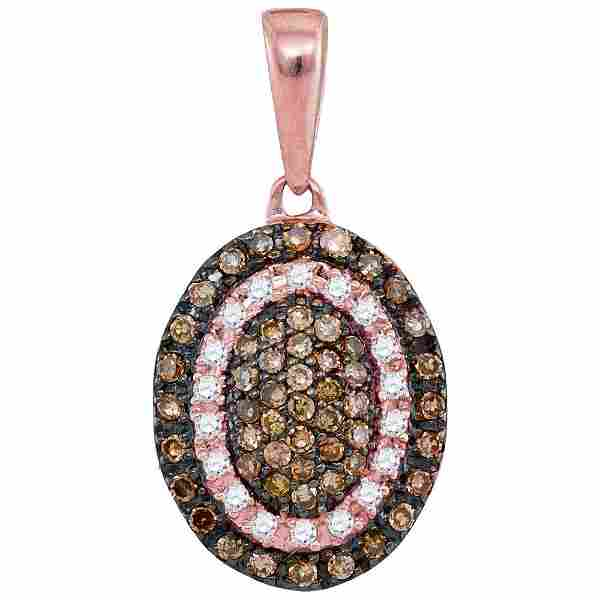 Round Brown Diamond Oval Frame Cluster Pendant 1/4 Cttw