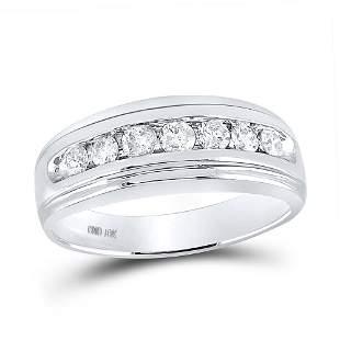 Round Diamond Wedding Channel-Set Band Ring 3/4 Cttw