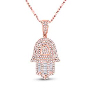 Baguette Diamond Hamsa Hand Charm Pendant 3/4 Cttw 10KT