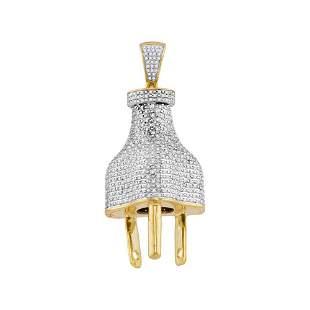 Round Diamond Plug Charm Pendant 1 Cttw 10KT Yellow