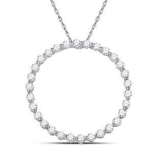 Round Diamond Outline Circle Pendant 1/2 Cttw 14KT