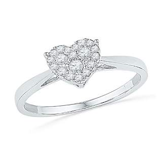 Round Diamond Simple Heart Cluster Ring 1/6 Cttw 10KT