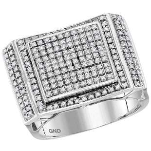 Round Diamond Square Cluster Ring 3/4 Cttw 10KT White