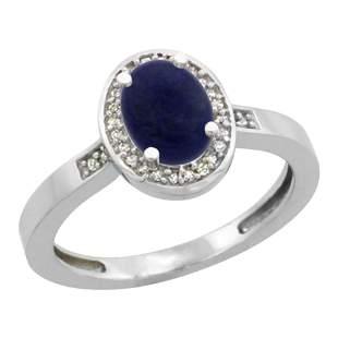 0.90 CTW Lapis Lazuli & Diamond Ring 14K White Gold -