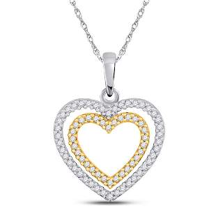 Round Diamond Double Heart Pendant 1/4 Cttw 10KT