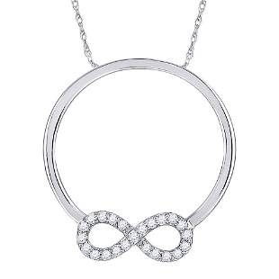 Round Diamond Circle Infinity Pendant 1/8 Cttw 10KT
