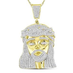 Round Diamond Jesus Charm Pendant 1-7/8 Cttw 10KT
