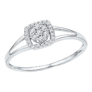 Round Diamond Square Frame Cluster Ring 1/10 Cttw 10KT