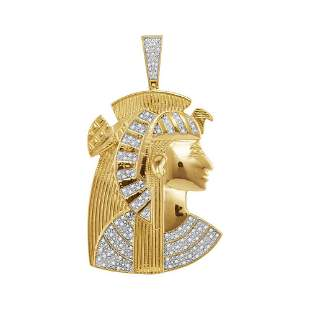 Round Diamond Pharaoh Charm Pendant 3/8 Cttw 10KT
