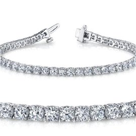 Natural 5ct VS2-SI1 Diamond Tennis Bracelet 18K White