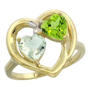 2.61 CTW Diamond, Amethyst & Peridot Ring 14K Yellow