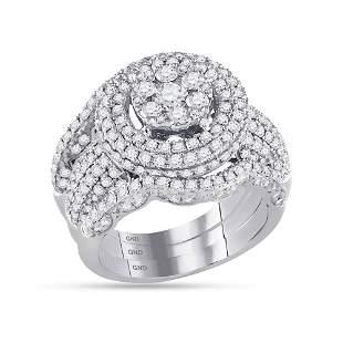 Diamond Cluster Bridal Wedding Ring Band Set 2-1/2 Cttw