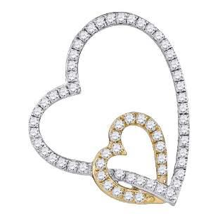 Round Diamond Double Linked Heart Pendant 1/3 Cttw 10KT