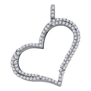 Round Diamond Outline Heart Pendant 1/3 Cttw 10KT White