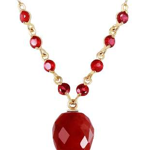 Genuine 14 ctw Ruby Necklace 14KT Yellow Gold -