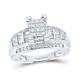 Cluster Bridal Wedding Engagement Ring 7/8 Cttw 10KT