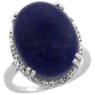 9.60 CTW Lapis Lazuli & Diamond Ring 14K White Gold -