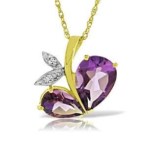 Genuine 4.06 ctw Amethyst & Diamond Necklace 14KT