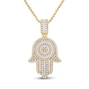 Baguette Diamond Hamsa Hand Charm Pendant 3 Cttw 14KT