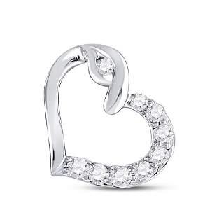 Round Diamond Outline Heart Pendant 1/8 Cttw 10KT White