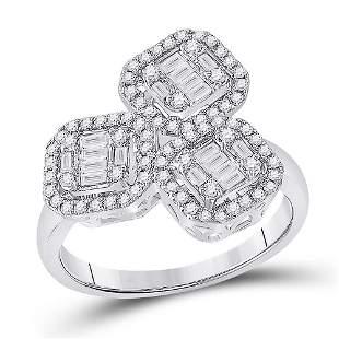 Baguette Diamond Triple Square Cluster Ring 5/8 Cttw