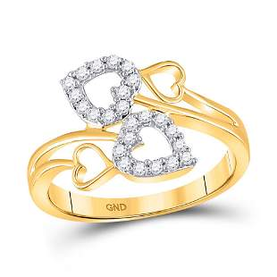 Round Diamond Double Heart Ring 1/4 Cttw 10KT Yellow