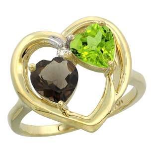 2.61 CTW Diamond, Quartz & Peridot Ring 14K Yellow Gold