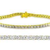 Natural 3.02ct VS2-SI1 Diamond Tennis Bracelet 14K