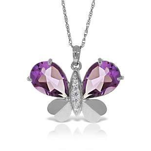 Genuine 6.6 ctw Amethyst & Diamond Necklace 14KT White